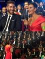 """Sergio Ramos y Eva Hache, que luce una de las creaciones de Hannibal Laguna para la presentación de la """"Gala de los Premios LFP 2014""""."""